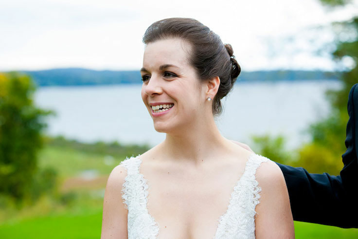 Bride in front of the Hudson River. Hudson Valley wedding at Wilderstein in Rhinecliff NY.